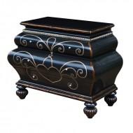 Scrin cu trei sertare si accente metalice, din lemn