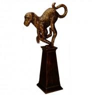 Obiect decorativ din metal pe suport din lemn, 163 cm (h)