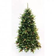 Brad verde cu conuri si 1400 tips, stand metalic inclus (inaltime brad 180 cm)