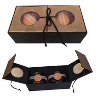 Aroma box din matase cu doua lumanari in suport, 10*20*6 cm (format inchis)